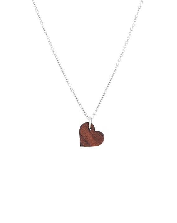Wood Jewelry Gift Wood Heart Wood Anniversary Unique Wooden Heart Pendant