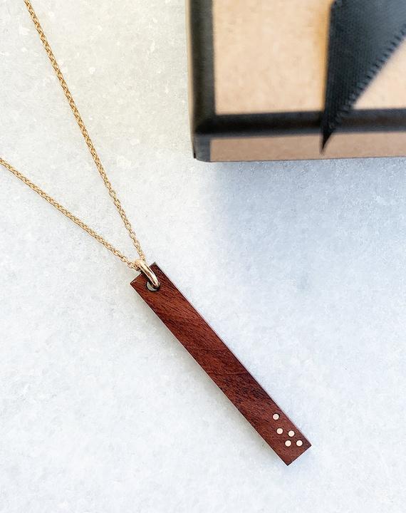 Fifth Anniversary gift 5th Anniversary 5 Year Anniversary Gift for wife Wood Jewelry GIft Wood Necklace Wood Anniversary Necklace