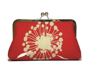 Bridesmaid Clutch, Poppy Clutch  in Red, Silk Lining, Bridesmaid Gift, Wedding clutch