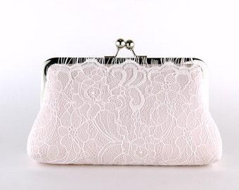 Blush Lace Bridal Clutch, Silk Clutch, Bridesmaid Gift, Wedding clutch