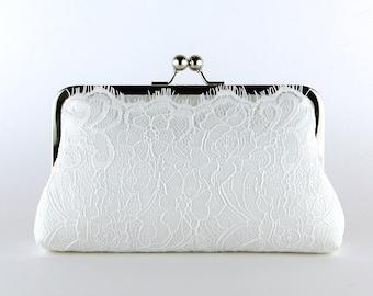 Ivory Lace Bridal Clutch, Silk Clutch,  Bridesmaid Gift, Wedding clutch