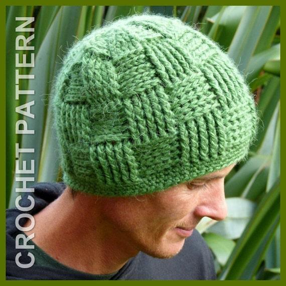 Crochet Hat Pattern Instant Download Basket Weave Beanie Etsy
