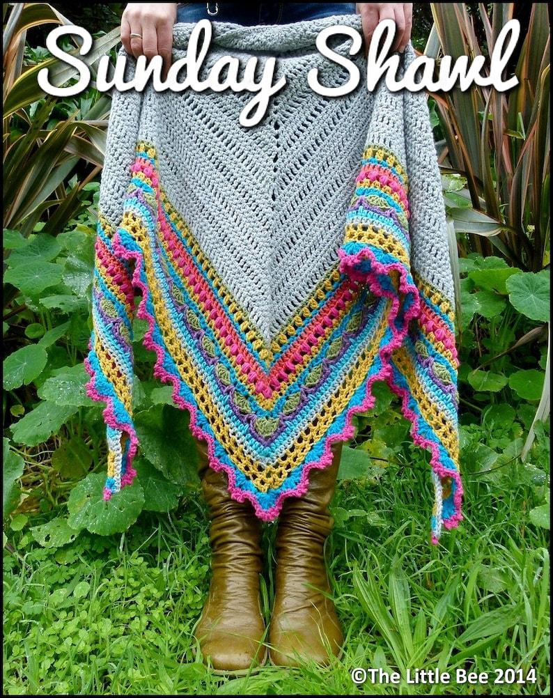 Crochet Shawl Pattern  Instant Download  Sunday Shawl image 0