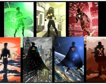 SPECIAL Original Justice League set of Seven prints!