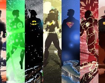 Original Justice League Silhouettes 11x17 Print