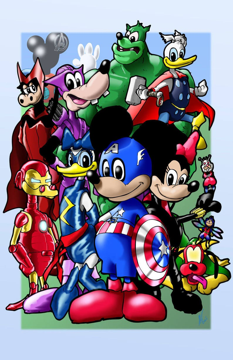 Mickey Mouse As The Avengers Print Etsy
