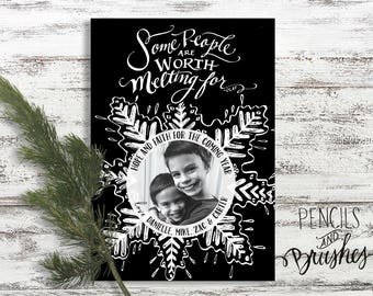 Christmas Photo Cards, Holiday Photo Card, Hand-lettering, Olaf, Frozen, Heartfelt Sentiment