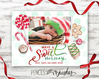 Christmas Photo Cards, Holiday Photo Card, Candy-theme Illustration, Hand-lettered Design