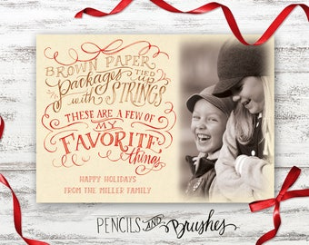 Christmas Photo Cards, Holiday Photo Card, Favorite Things, Hand-lettered Design