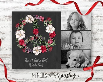 Holiday Photo Cards, Christmas Photo Card, Illustrated Peace Sign