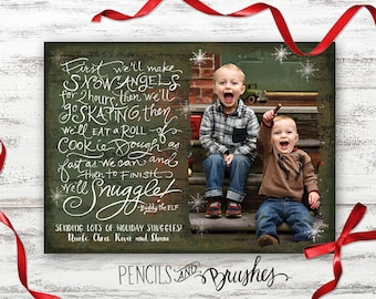 Christmas Photo Cards, Holiday Photo Card, Elf Quote, Rustic Design