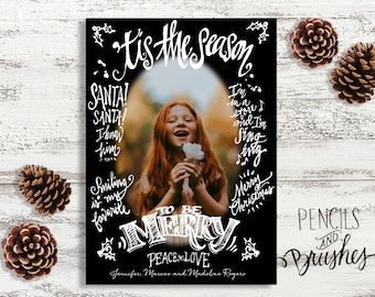 Holiday Photo Cards, Christmas Photo Card, Hand-Lettering, Movie Quotes