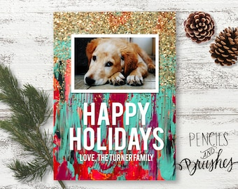 Holiday Photo Cards, Christmas Photo Card, Paint and Glitter, Photo-real