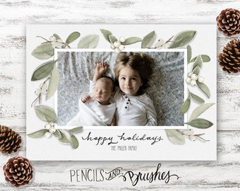 Holiday Photo Cards, Christmas Photo Card, Mistletoe, Hand-painted