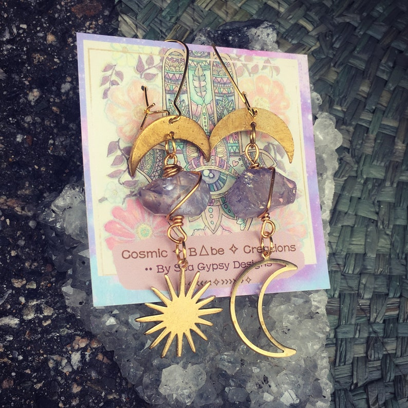 Tropical Sister Beach Warrior Ocean Vibes Amethyst Love Sun Moon Amethyst Earrings Summer Pyrite Sun Vibes