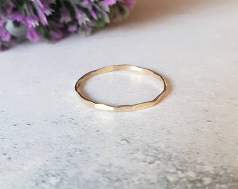9ct gold stacking ring, 9ct gold ring, hammered stacking ring, gold hammered ring, solid gold ring, thin gold ring, gold dainty ring,