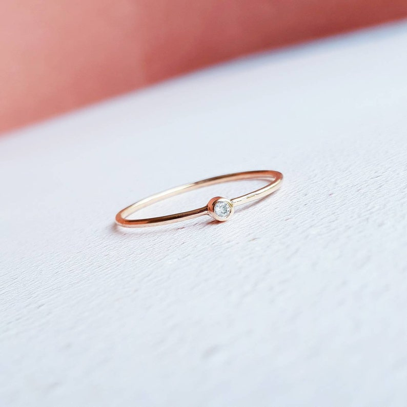 diamond ring rose gold ring thin diamond ring diamond stacking ring Rose gold diamond ring tiny diamond ring 9ct gold diamond ring