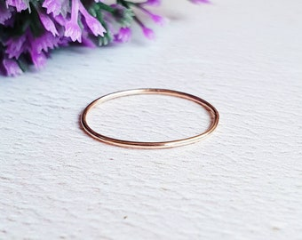9 carat rose gold stacking ring, 0.8mm solid gold ring, minimalistic jewelry for her, real gold gift for wife, skinny gold ring, thin ring