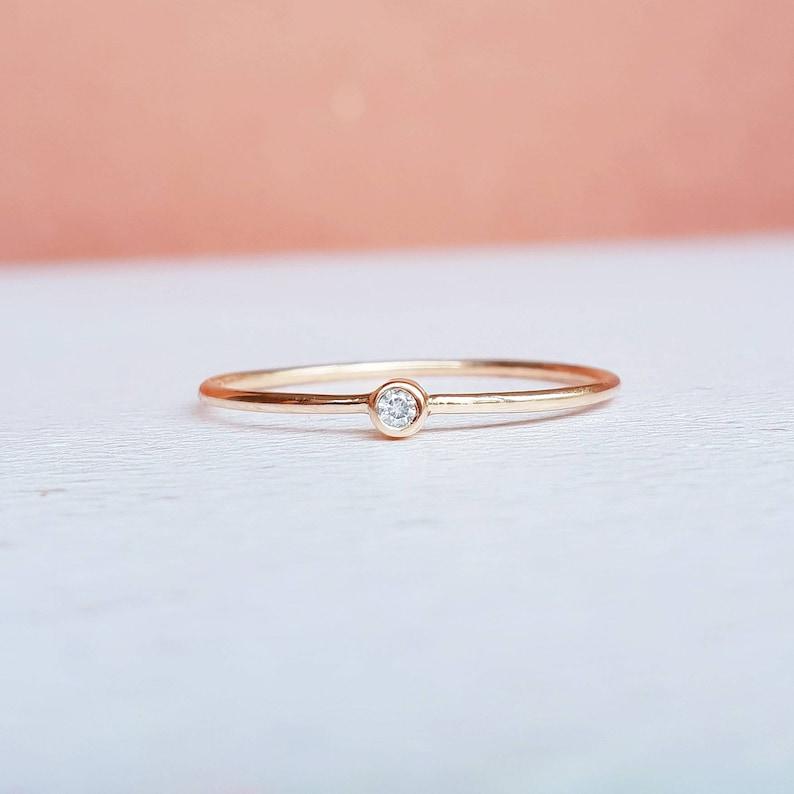 98d26d3e78051 Rose gold diamond ring, tiny diamond ring, diamond stacking ring, 9ct gold  diamond ring, thin diamond ring, diamond ring, rose gold ring