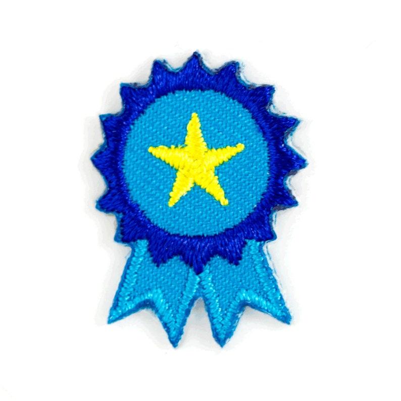 Blue Ribbon Embroidered Mini Sticker Patch