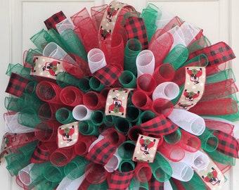XL CHRISTMAS Curly Wreath,  Black Dog Deco Mesh Wreath, Red Black Buffalo Plaid, Pet Lover Christmas Winter Door Decor, Red Vintage Truck