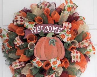 FALL WELCOME WREATH, Pumpkin Décor, Happy Harvest, Thanksgiving Curly Mesh Wreath, Autumn Orange Tan Green Burgundy Spiral Front Door Decor