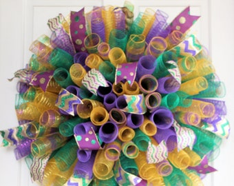 XL Curly Mardi Gras Wreath, Fat Tuesday Decoration, Purple Gold Green Mesh Wreath, New Orleans Louisiana Party Door Hanging