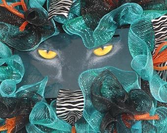 CAT EYES WREATH, Cat Lover, Teal Black Deco Mesh Wreath, Pet Front Door Décor, Animal Rescue Wall Hanging, Panthers, Halloween