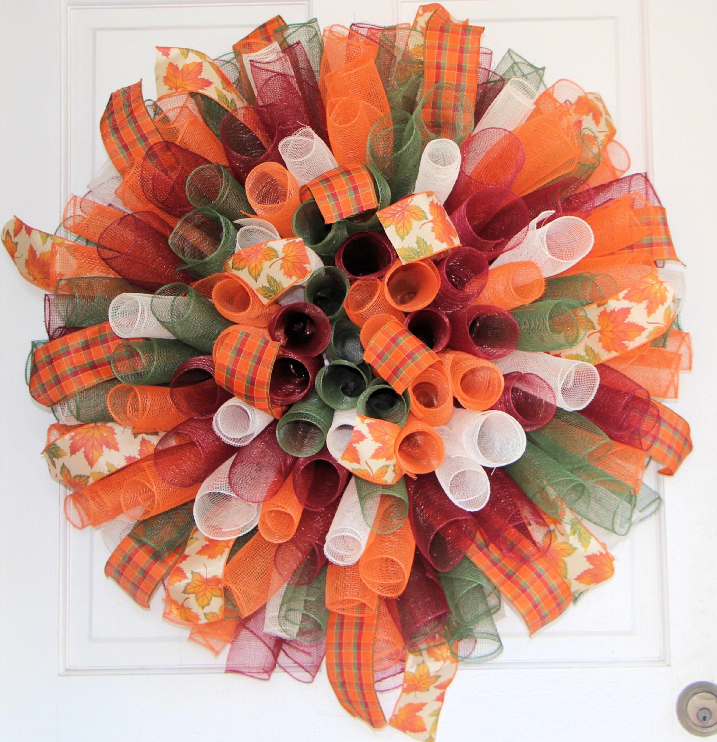 XL FALL CURLY MESH WREATH Orange Brown Gold Spiral Harvest Thanksgiving Decor