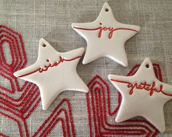 Set of 3 Pearly Star Christmas ornamentsgift toppers!