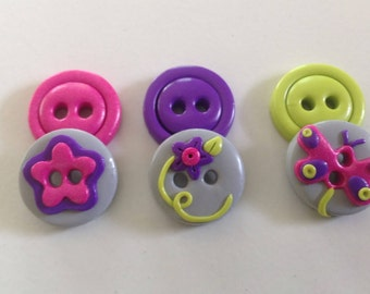 Flutterby Buttons ~ Set of 6