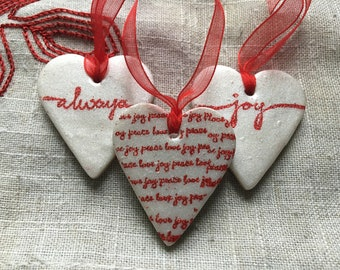 3 Embossed Heart Ornaments