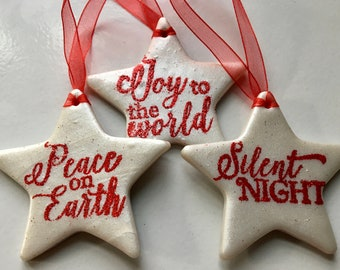 Embossed Star Christmas ornaments