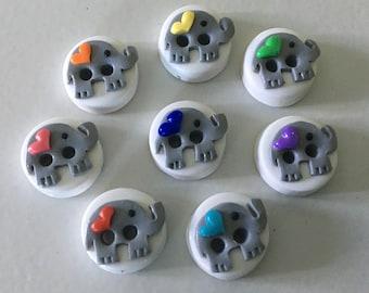 8 Rainbow Elephant Buttons
