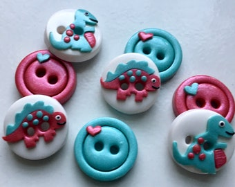 Pink Girly Dinosaur Buttons (8)