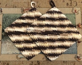 potholders double thick set of 2 cotton potholders brown tan beige gift handmade game prize party gift hand crochet kitchen tools