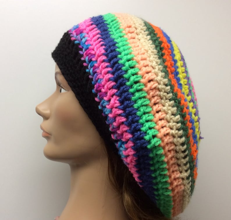 Hippie Hats,  70s Hats Rainbow Slouchy hat Rasta hat hippie hatboho dread tam winter hat hand crochet handmade dreadlock hat reggae hat gift $24.00 AT vintagedancer.com