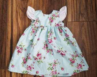 213102ba93e11 Magenta and mint floral baby dress, mint floral dress, handmade baby dress,  handmade toddler dress, vintage style dress, vintage style