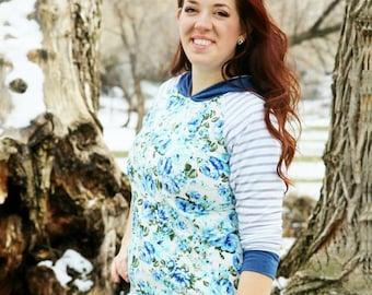 Blue floral matching mom hoodie, adult hoodie, adult floral hoodie, women's lightweight hoodie, women's hoodie, women's floral hoodie