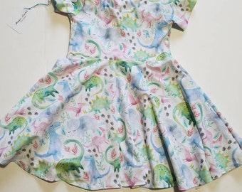 Dinosaur twirly dress, dinosaur dress, baby dinosaur dress, toddler dinosaur dress, girl dinosaur dress, baby twirl dress, toddler dress