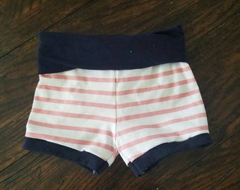 Coral striped shorts, coral striped baby shorts, coral striped toddler shorts, newborn baby shorts, baby summer clothes,