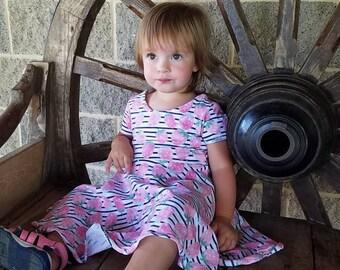 Strawberry twirly dress, strawberry circle dress, handmade dress, toddler strawberry dress, twirl dress,