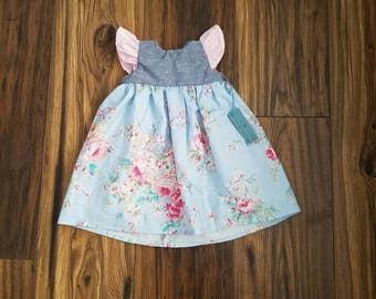 Blue floral dress, vintage floral dress, cotton baby dress, blue baby dress, blue toddler dress, chambray baby dress, Easter dress,