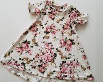 Blush  dress, vintage floral dress, t-shirt dress, floral baby dress, floral toddler dress, handmade dress,