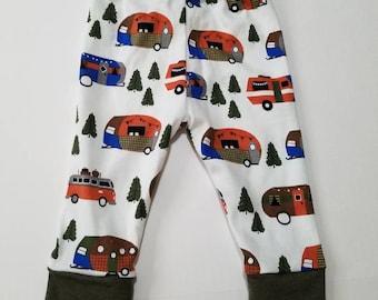 Happy camper leggings and hat, camper trailer baby leggings, camper baby leggings, baby boy, coming home outfit, airstream leggings