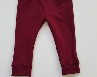 Burgundy baby leggings, wine red baby leggings, fall baby leggings, Christmas leggings, baby Christmas clothing.