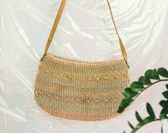 Vintage Pastel Striped Straw Purse