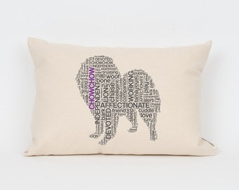 Chow Chow Pillow 12x18 // Chow Art // Chow Mom // Dog Breed Pillow // Dog Mom // Dog Breed Art // Gift for Dog Lover // Pet Gift