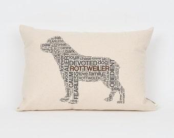Rottweiler Pillow 12x18 // Rottweiler Art // Rottweiler Mom // Dog Breed Pillow // Dog Breed Art // Gift for Dog Lover // Pet Gift