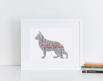 German Shepherd Framed  Print // Framed & Matted // Dog Art // Dog Print // Dog Breed Gift // Framed Prints // Gift for Pet Owner